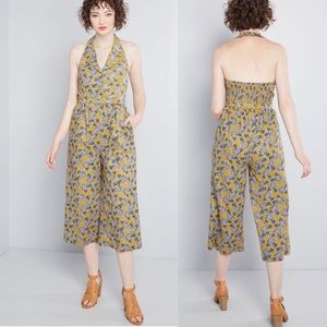 Modcloth Floral Belted Halter Pin Up Jumpsuit NEW